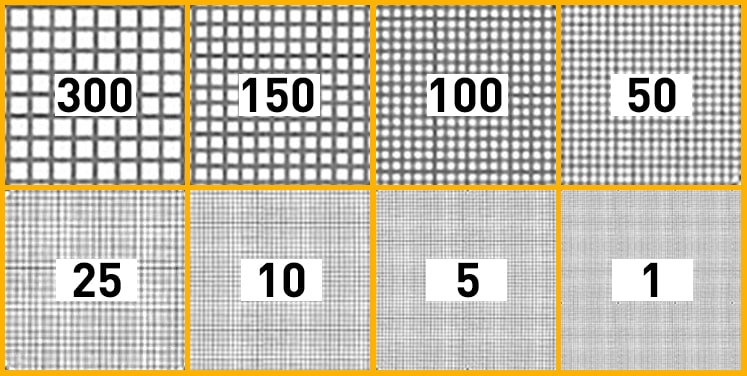 Filtration thresholds of Cintropur filter sleeves, from coarse filtration of 300 microns to very fine filtration of 1 micron. The image illustrates the mesh size of the 300 µm, 150 µm, 100 µm, 50 µm, 25 µm, 10 µm, 5 µm and 1 µm filter sleeves (12 times magnification). The 300 µm and 150 µm filter sleeves are washable; they can be reused several dozen times.