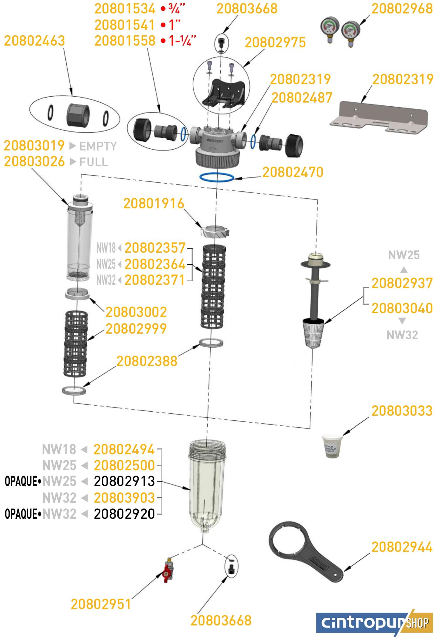 Dessin des pièces détachées Cintropur de la gamme Domestic Line avec code UGS