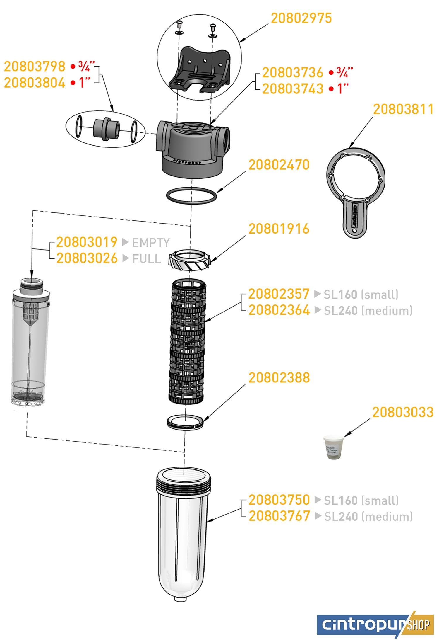 Dessin des pièces détachées Cintropur de la gamme Smart Line avec code UGS