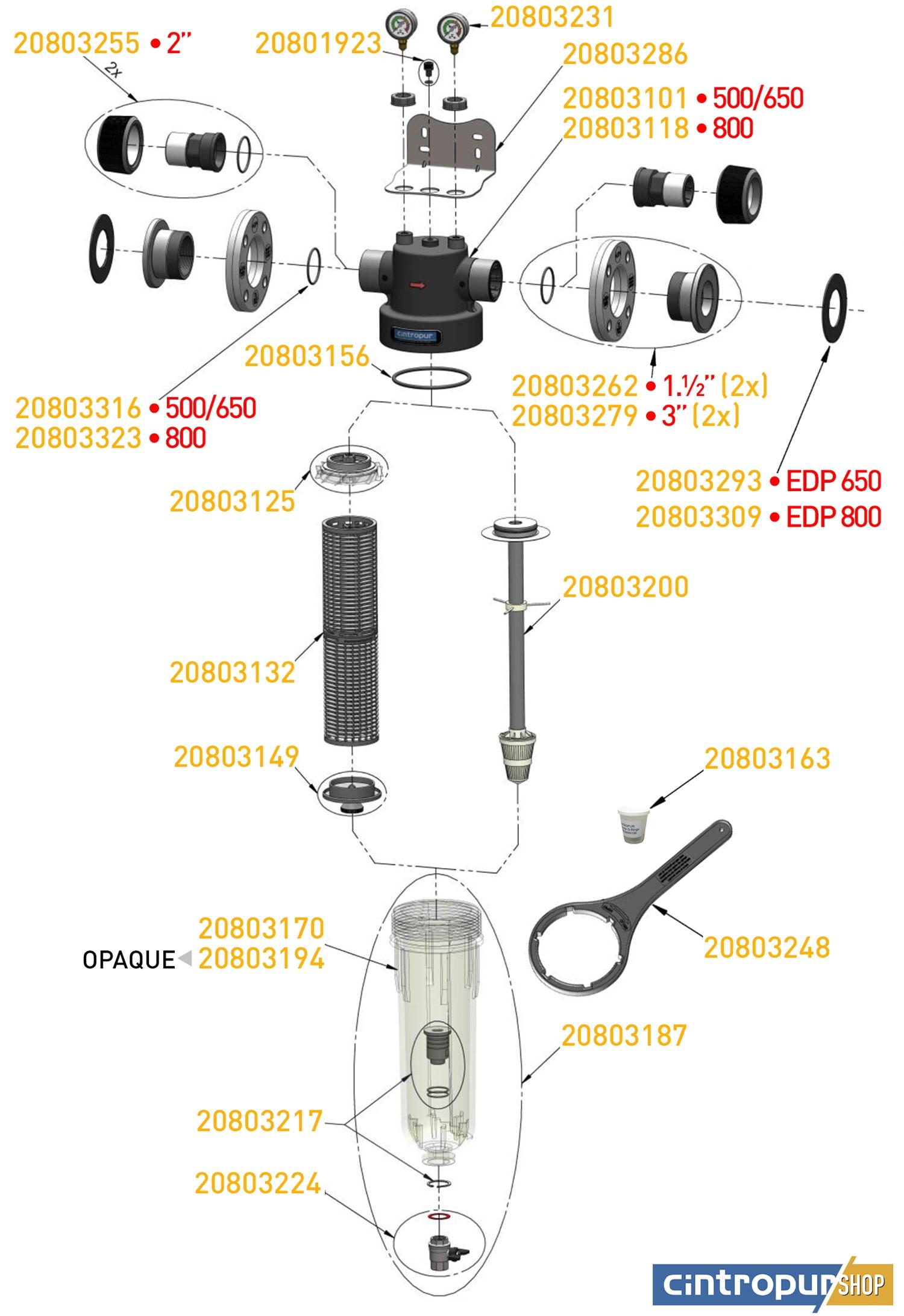 Dessin des pièces détachées Cintropur de la gamme Industrial avec code UGS