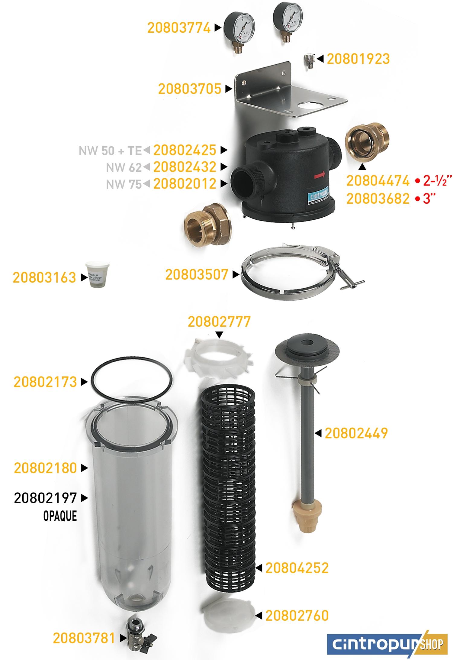 Dessin des pièces détachées Cintropur de la gamme ancien Industrial avec code UGS