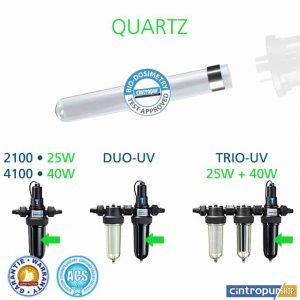 Tube quartz Cintropur pour stérilisateur d'eau modèles 2100, 4100, DUO-UV, DUO-UV 40w, DUO-UV-CTN 25w, DUO-UV-CTN 40w, TRIO-UV 25w, TRIO-UV 40w, TRIO-UV-DUO 25w, TRIO-UV-DUO 40w